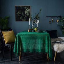 Retro tricô verde oco rendas toalha de mesa quadrado artesanal crochê tv gabinete capa pano à prova de poeira decoração