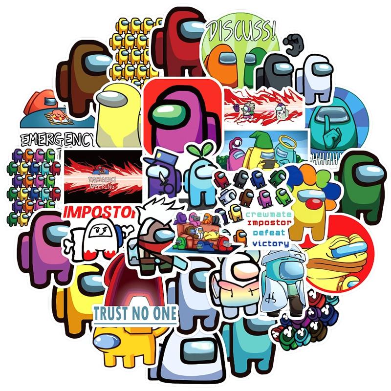 50 unids/pack gran oferta juego entre nosotros Graffiti calcomanías para cuadernos de ordenador de monopatín teléfono móvil de dibujos animados de juguete