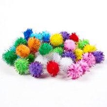 100 шт цветные блестящие шарики помпон пушистые шарики для детей Сделай Сам принадлежности для рукоделия материалы для креативного украшения ручной работы помпоны
