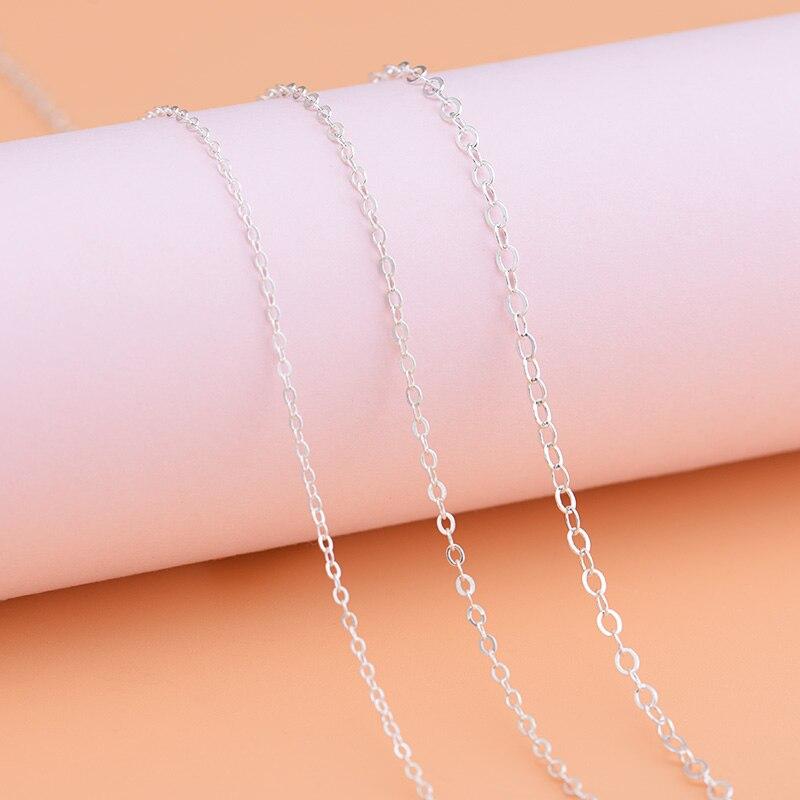 Plata de Ley 925, cadena suelta semiacabada con cadena cruzada calandridada, cadena hecha a mano, collar de diybrazalete, accesorios para tobillera