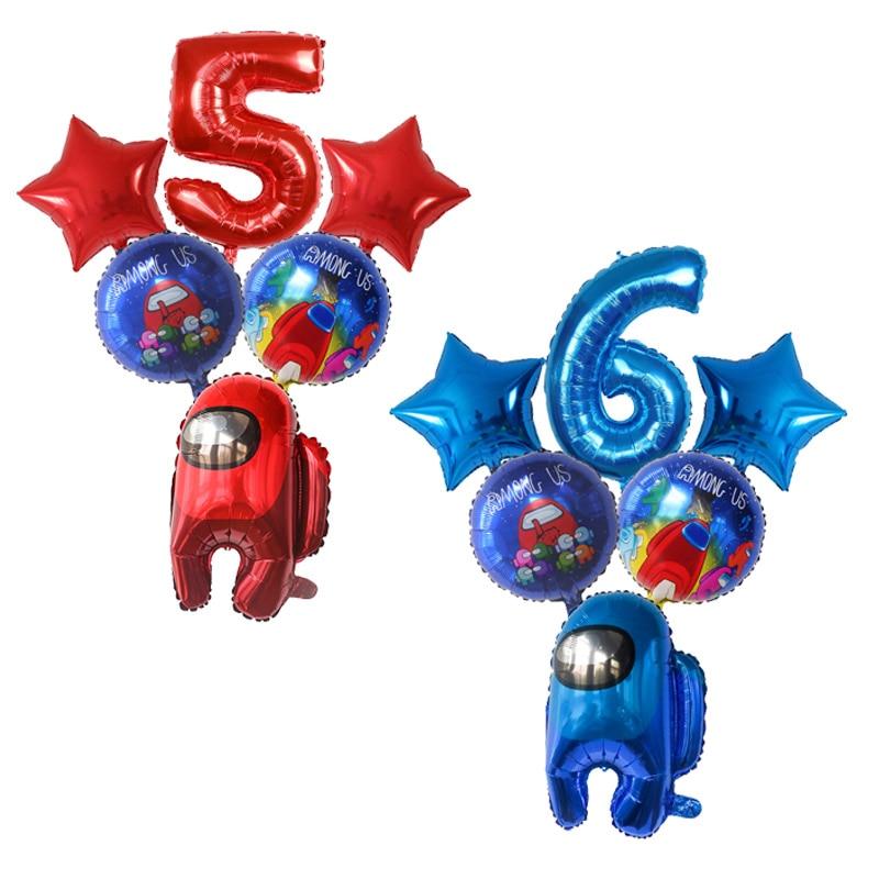 6Pcs Among Balloons Us Number Foil Ballon Star Game Theme Happy Birthday Party Decorations Kids Birthday Decor Cartoon Set Toys