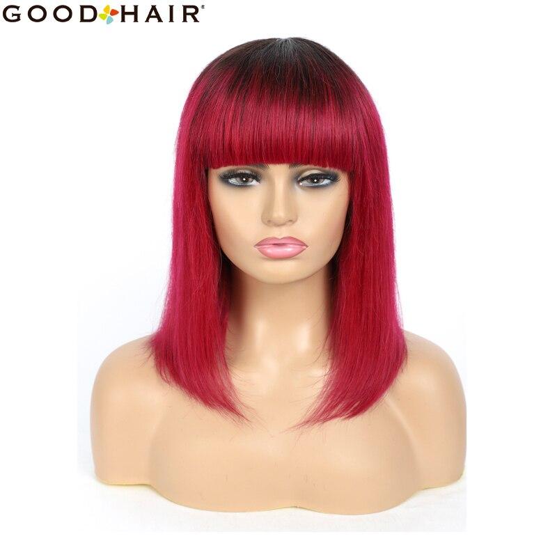 ombre vermelho curto bob peruca com franja brasileiro em linha reta nao remy peruca