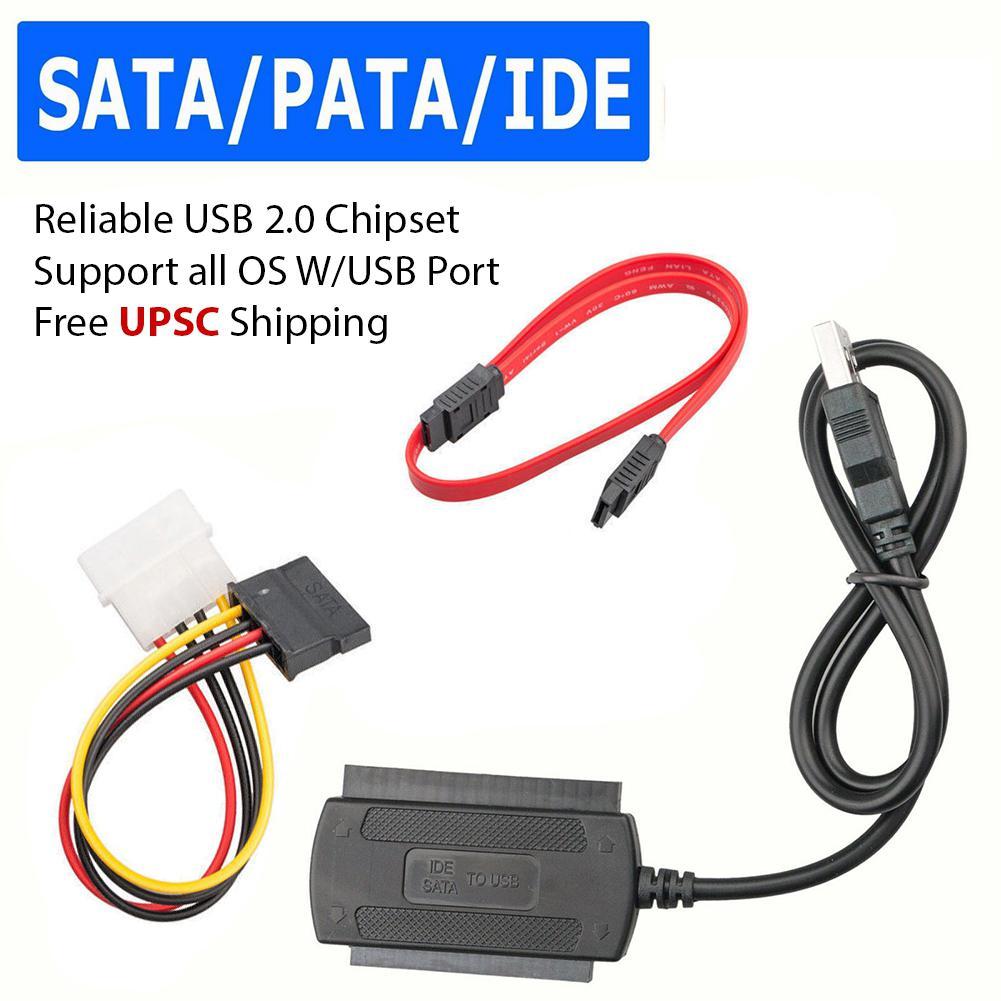 "SATA PATA IDE Drive a USB 2,0 Cable convertidor adaptador para unidad de disco duro HDD 2,5 ""3,5"" con adaptador de corriente AC externo"