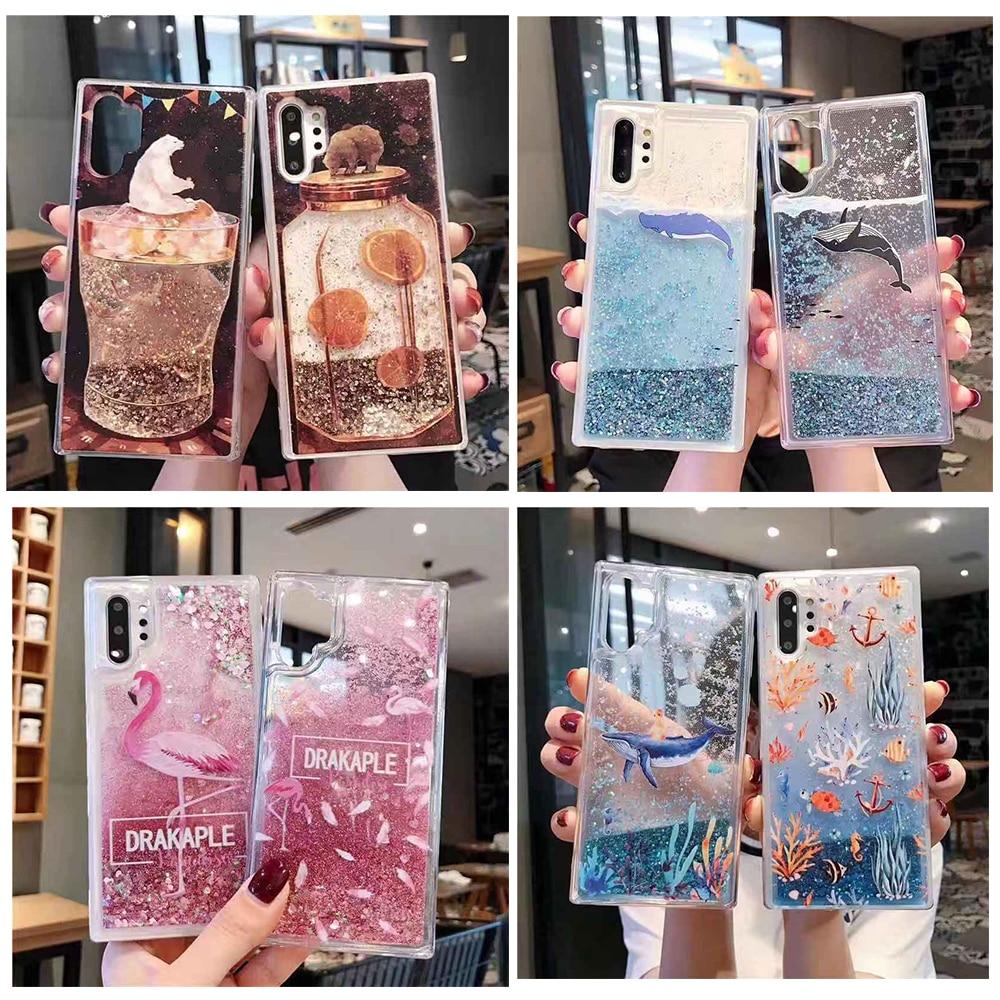 Funda de teléfono de moda ballena peces Coral flamenco osos agua líquida para Samsung GALAXY Note 10 Pro arenas movedizas brillo suave