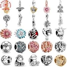 2020 printemps nouveau 925 perles en argent Sterling étincelant patte impression & coeur breloques ajustement Original Pandora Bracelets femmes bijoux à bricoler soi-même