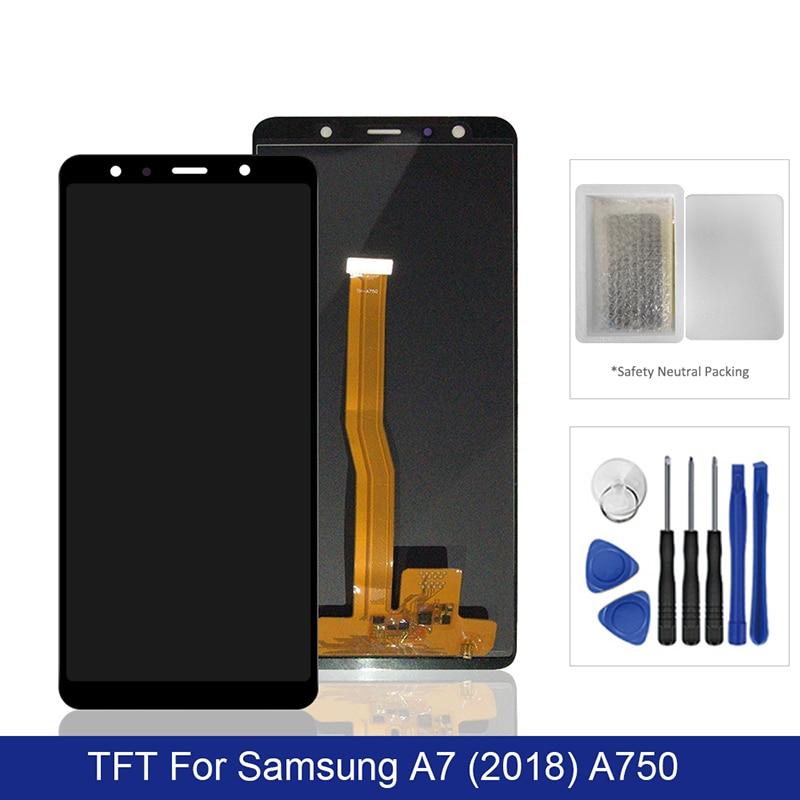 لسامسونج غالاكسي A7 2018 LCD عرض تعمل باللمس محول الأرقام الجمعية TFT على SM A750F A 7 2018 750F Sm-A750F 100% اختبار