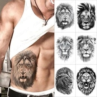 waterproof temporary tattoo stickers tiger lion wolf flash ink tattoos man henna body art arm water transfer fake tatto female