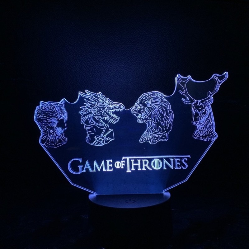 Disney Games of Throney 3D night light four big family animal head led gift decoration colorful touch gradient table lamp