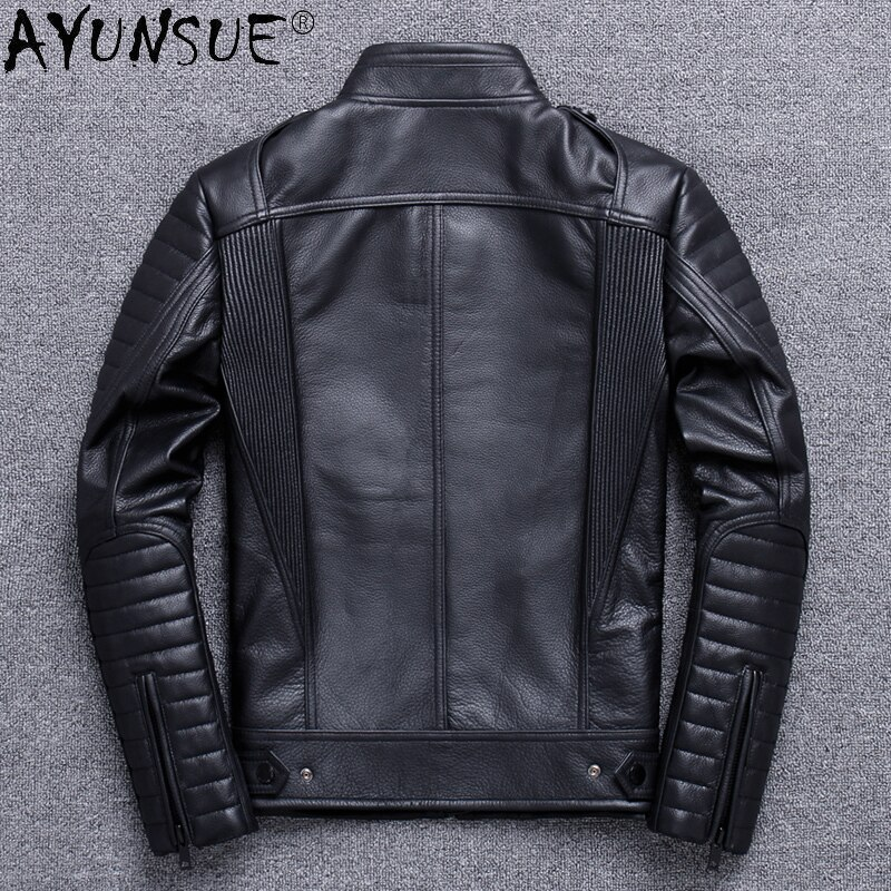 Man 2021 Jacket Genuine Cowhide Leather Jackets for Men Clothing Motorcycle Clothes Autumn Coat Hommes Veste LXR859