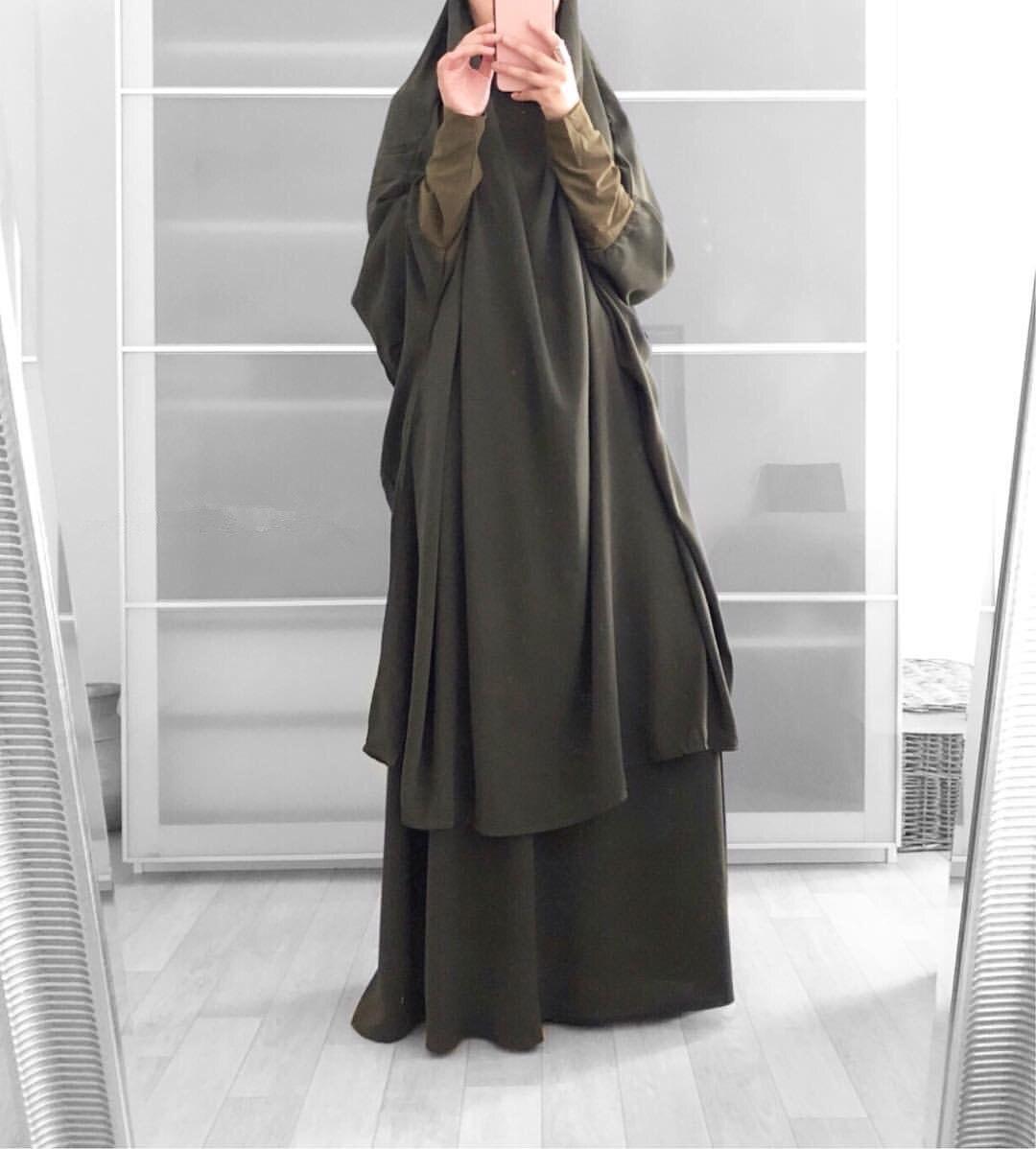 Ramadan Aid Moubarak Abaya Dubai Turkey Islam Prayer Muslim Fashion Hijab Dress Sets for Women Djellaba Ensemble Femme Musulmane