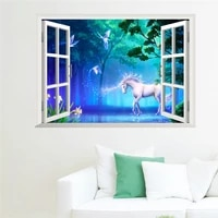 3d false window forest decorative vinyl wall sticker home living room decor mural aesthetic horse scenery posters on the wall
