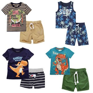 2-6 Years Toddler Boys' Short Sets for Summer 100% Cotton Clothes 2Pcs T-Shirt +Shorts Children Kids Summer Short Sleeve Outfit