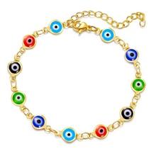 1Pc Stainless Steel Multicolor Evil Eye Bracelets for Women Men Jewelry Colorful Evil Eye Link Chain