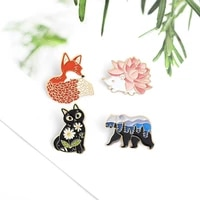 landscape on animals enamel pins cat bear fox hedgehog brooches badges fashion cute pin gifts for friends wholesale