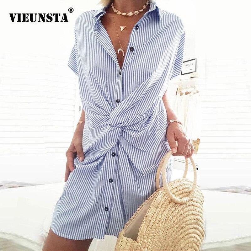 Verão listra botão de impressão camisa polo vestido feminino 2020 primavera turn-down colarinho vestido de festa vintage sexy torção vestido de manga curta