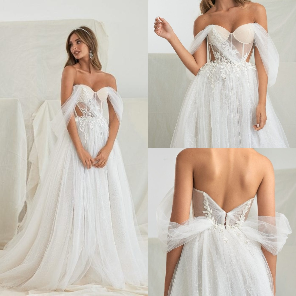 Review 2022 Wedding Dresses Bridal Gowns Lace Appliqued Off The Shoulder Beaded Boho Tulle A Line Country Robes De Mariée