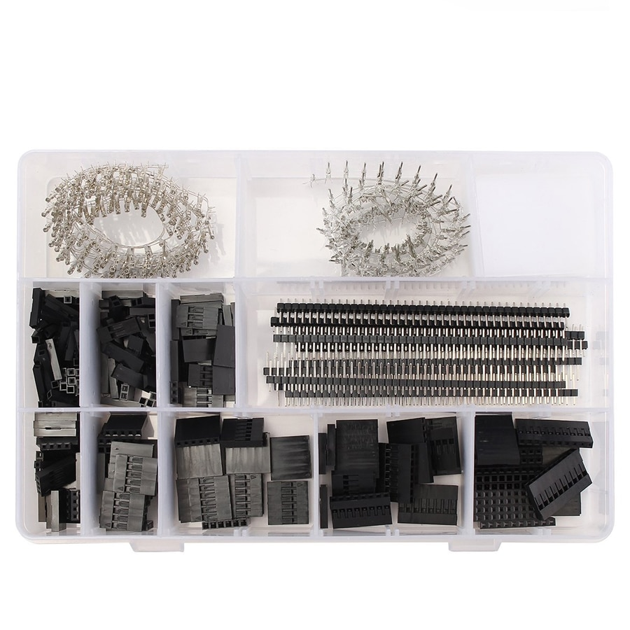 560pcs dupont connector jumper wire cable pin header pin housing and male female pin head terminal adapter plug set kit 525pcs/set Dupont Wire Jumper Pin Header Connector Housing Kit Male Crimp Pin+Female Pin Connector Terminal Pitch diy electronic