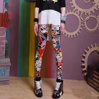 fashion printing graffiti leggings women tight elastic personality leggings high waist yoga pants outer wear