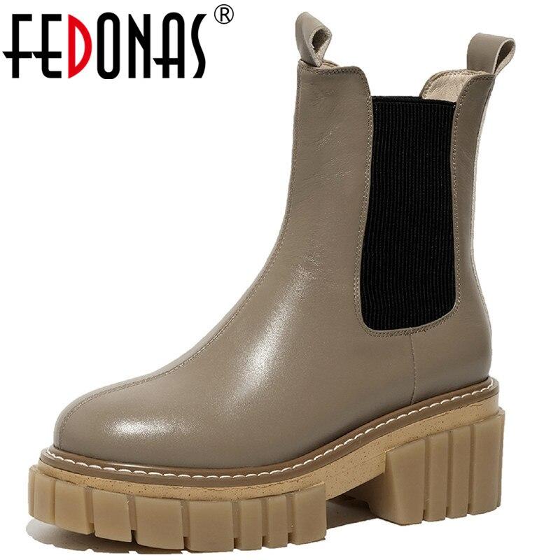 FEDONAS موجزة شريط مرن منصة الإناث النساء الشتاء الأحذية جلد طبيعي حذاء بكعب سميك مضخات العمل أحذية الحفلات امرأة