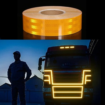 Truck Safety Mark Reflective Tape Stickers Car Moto Styling Self Adhesive Warning Safety Tape Automobiles Reflective Film