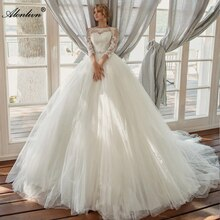 Alonlivn Hoge Kwaliteit Vestido De Noiva Elegante Tule Trouwjurken O-hals Prinses Baljurk Bruidsjurk Applique Kralen Sash
