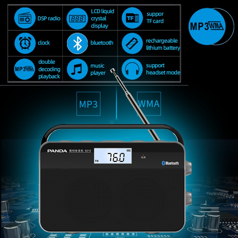 Hot Portable Bluetooth Radio FM AM Digital LCD Display Walkman HiFi Stereo Speaker Player-Support TF Card,Headphone,Chargeable enlarge
