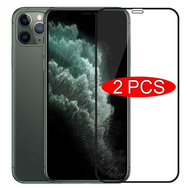 2PCS Full Cover Glass on the For iPhone 11 Pro XR X XS Max Tempered Screen Protector For iPhone 7 6