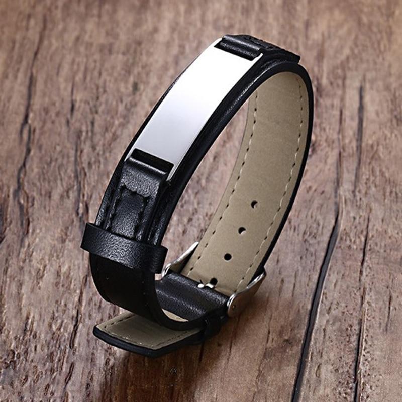 Pulsera de cuero negro para hombre, barra de acero inoxidable, pulsera de envoltura ancha ajustable para regalos de marido