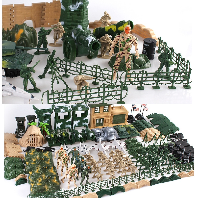 100/300pcs/set plastic toy small soldier boy sand table model toy  soldier Military Bases Set classic toys 100pcs high soldier model military sandbox game plastic toy soldier army men figures for children s toy dolls gift