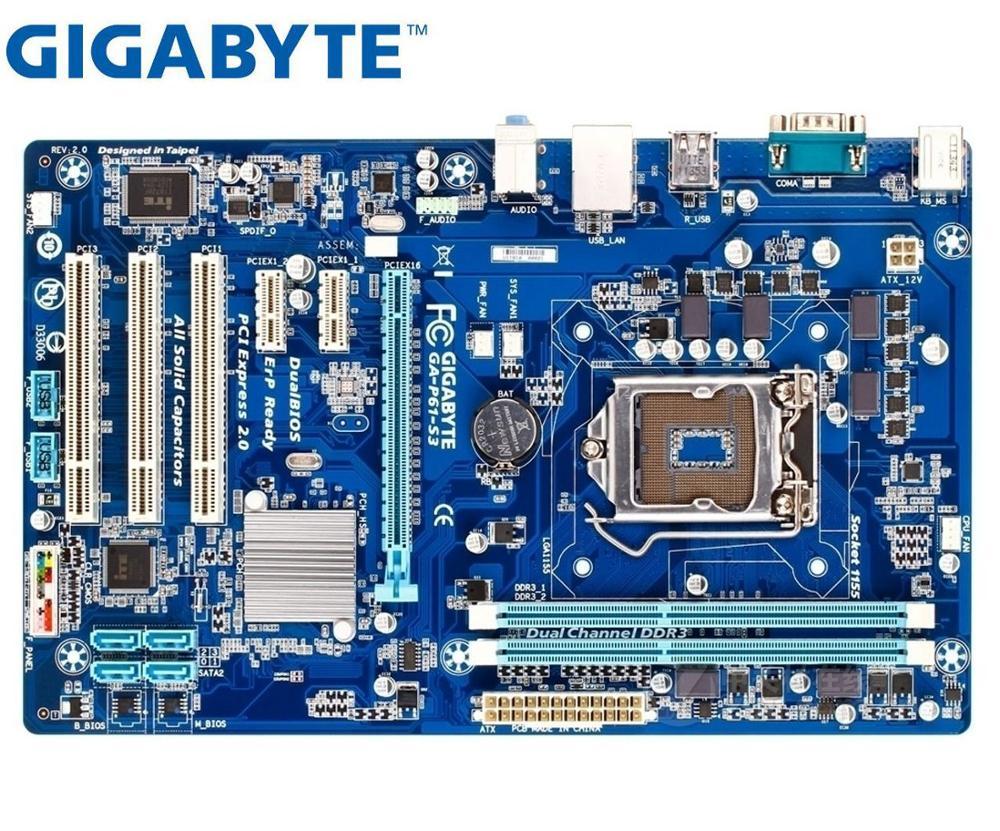 Se original placa madre Gigabyte GA-P61-S3-B3 GA-P61-S3 LGA 1155 DDR3 16GB USB2.0...