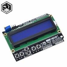 Ótimo que 1 pçs lcd teclado escudo lcd1602 lcd 1602 módulo de exibição para arduino atmega328 atmega2560 raspberry pi uno tela azul