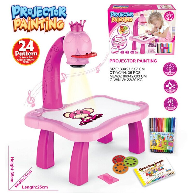 Kids Children Educational Early Learning Musical Projector Projection Painting Drawing Table Desk Toy Paint Tools BV789
