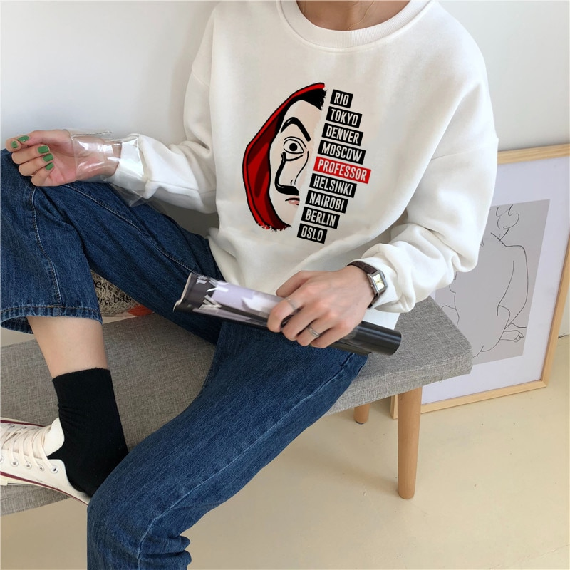 Showtly La Casa De Papel Hoodies Money Heist camisetas serie TV Sudadera Mujer ropa Casa De Papel divertido Harajuku De gran tamaño