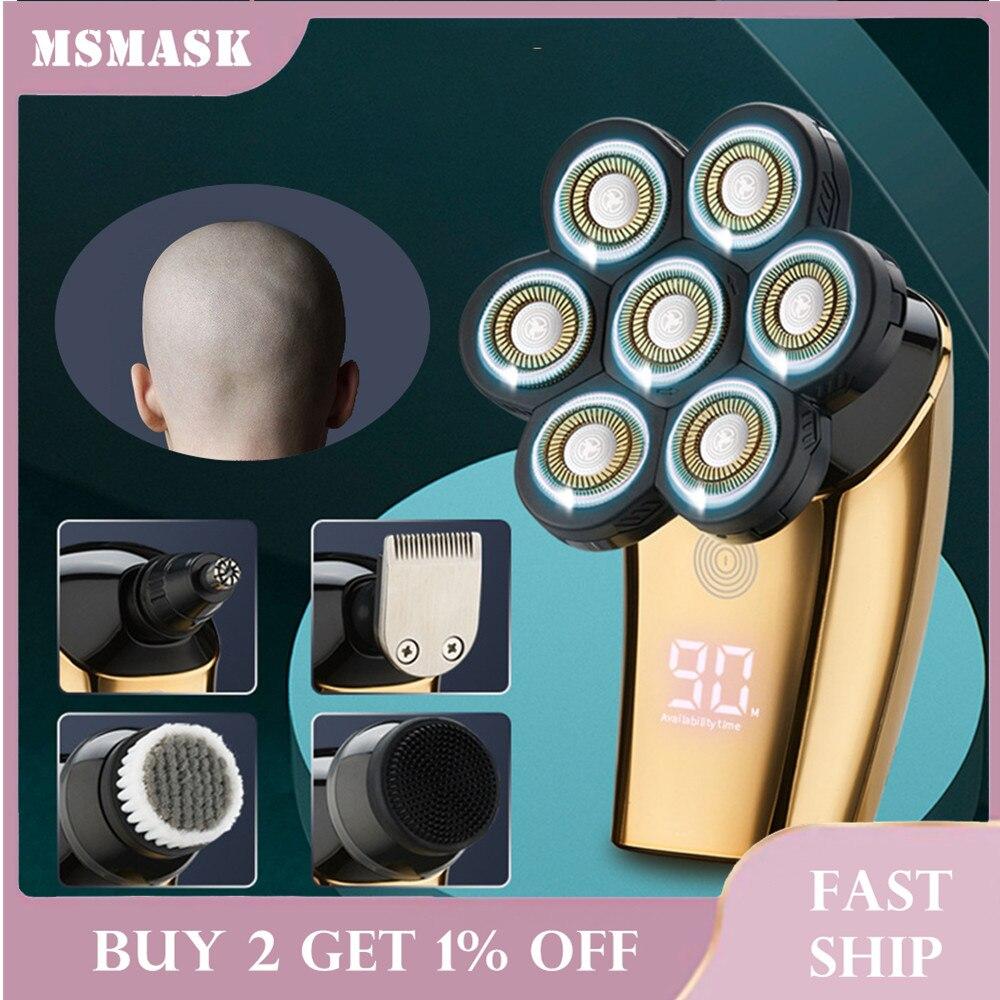 7D متعددة الوظائف الرجال ماكينة حلاقة العائمة رؤساء شفرات مقص الشعر الأنف الأذن الشعر المتقلب الرجال الحلاقة المقص فرشاة تنظيف بشرة الوجه