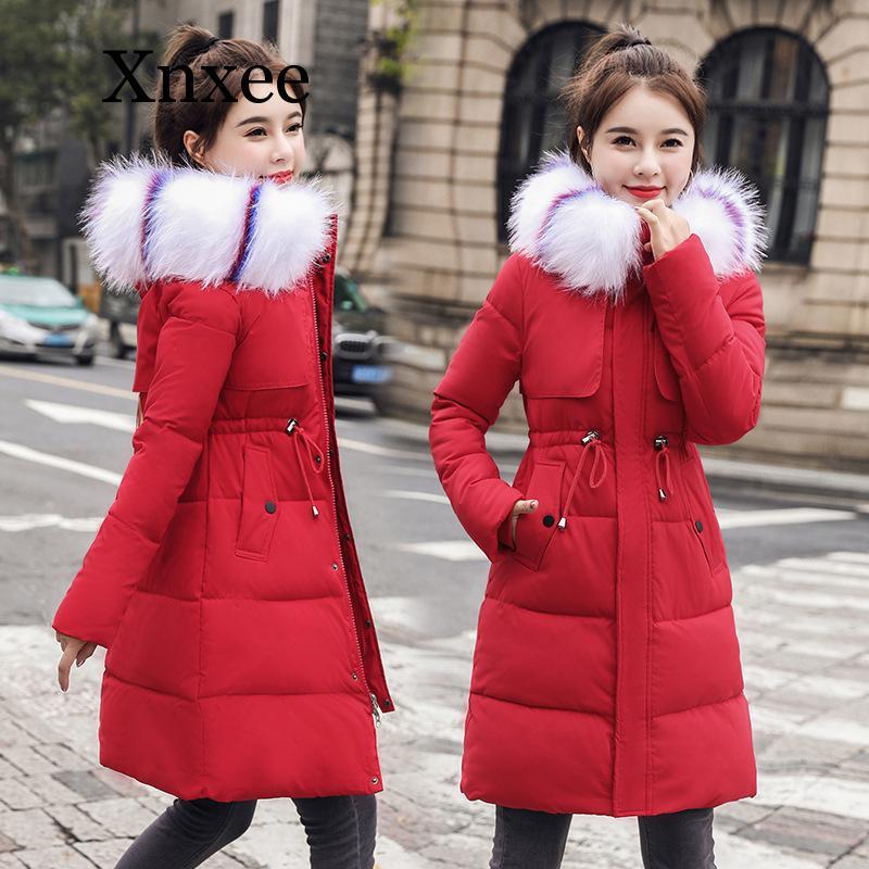 Красная, белая, синяя ветрозащитная теплая Повседневная Женская Длинная зимняя парка, облегающие пальто, куртки, парка с капюшоном и карман...