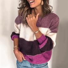 Fashion Women Striped Color Block O Neck Long Sleeve Sweater Loose Knit Pullover Women Clothi 2020 p