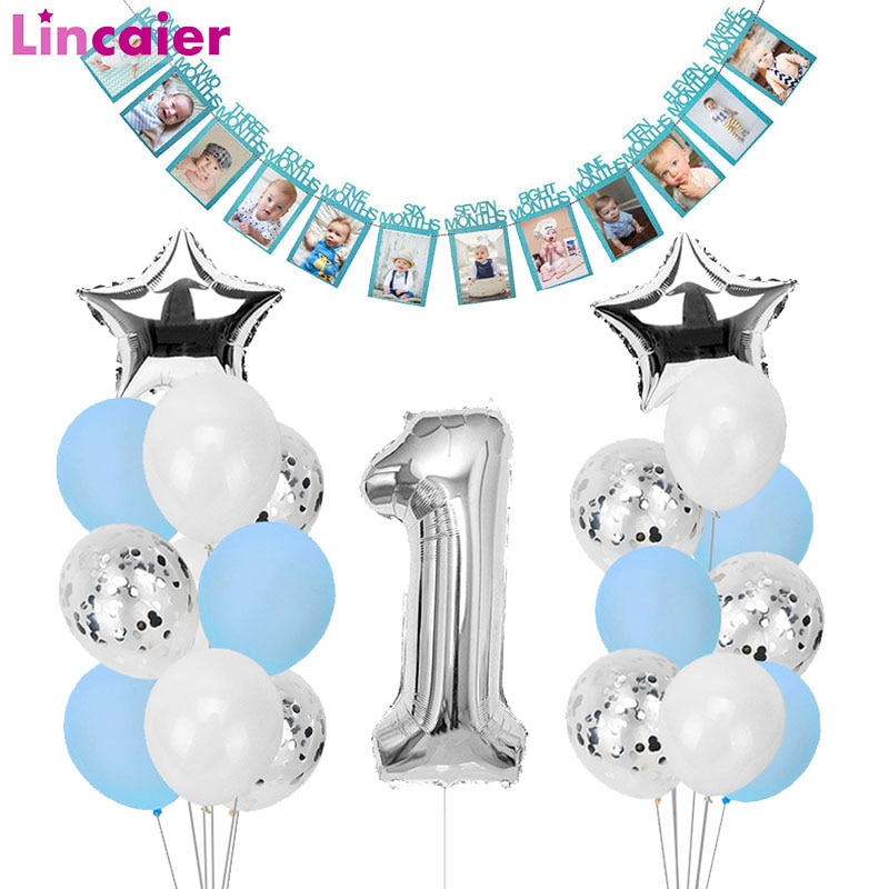 jungle animal theme 1 12 months photo frame banner baby 1st birthday decorations baby boy girl my first one year party supplies 1st Happy Birthday Blue Silver Balloons Foil Number Balloons Banner First Baby Boy Party Decorations My 1 One Year Supplies