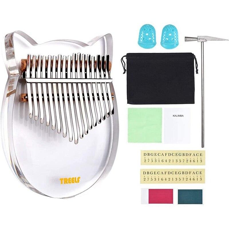 17 Key Kalimba Acrylic Thumb Piano 17 Keys Mbira Transparent Musical Keyboard Instrument with Tuner Hammer