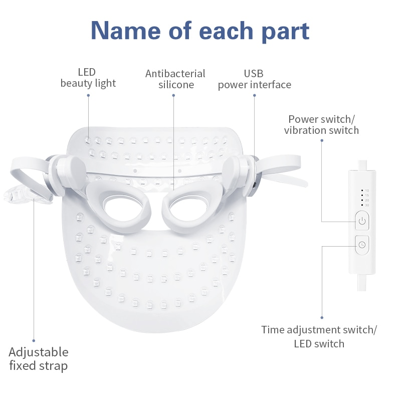 ANLAN 3 Colors LED Facial Mask Beauty Reduce Skin Wrinkles Whitening Suppress Sebum Remove Spots LED Face Light Therapy Mask enlarge
