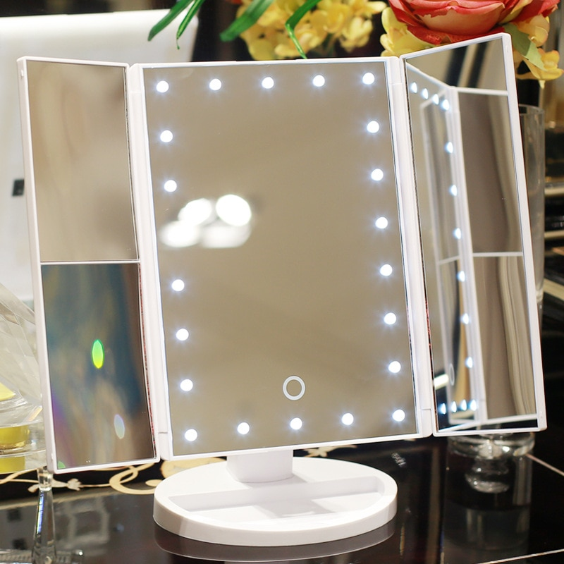LED Makeup Mirror 22 Vanity Light Magnifying 3 Floding Countertop Touch Screen Cosmetic 10x Magnifie