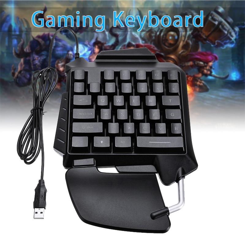 Mini teclado mecánico para jugar con una sola mano 35 teclas con retroiluminación LED mano izquierda pequeños juegos teclado Pohiks