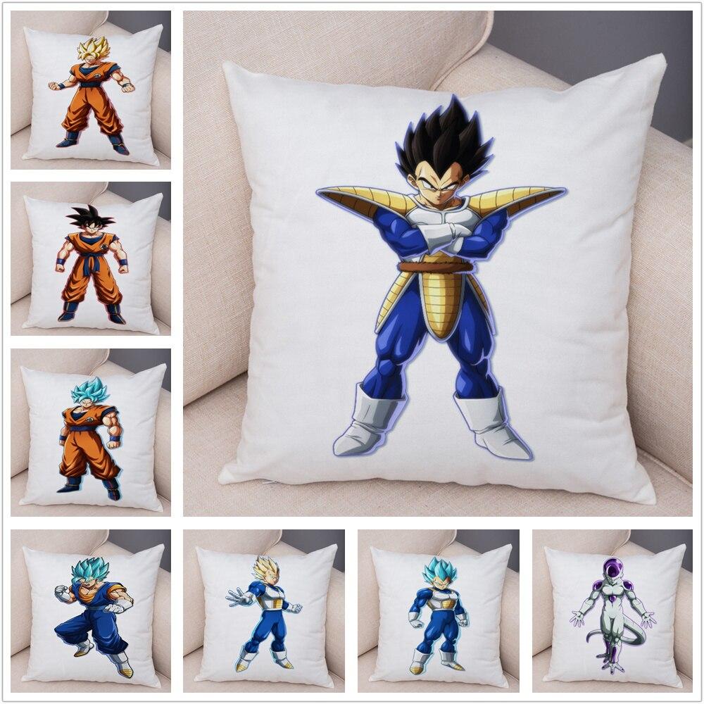 Funda de almohada de Dragon Ball Vegeta, funda de cojín corta de felpa Super suave de 45*45cm para sofá, funda de almohada de dibujos decorativos para el hogar Son Goku
