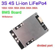 Dykb 3S 4S 12V 100A 200A 300A 380A Lithium Li-ion LiFePo4 Protection de batterie BMS Board W/Balance courant élevé 3 4 cellules onduleur