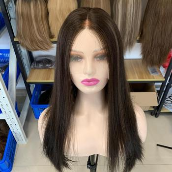 New Arrival Natural Black Color With Highlight Top European Hair Swiss Lace Top Wigs