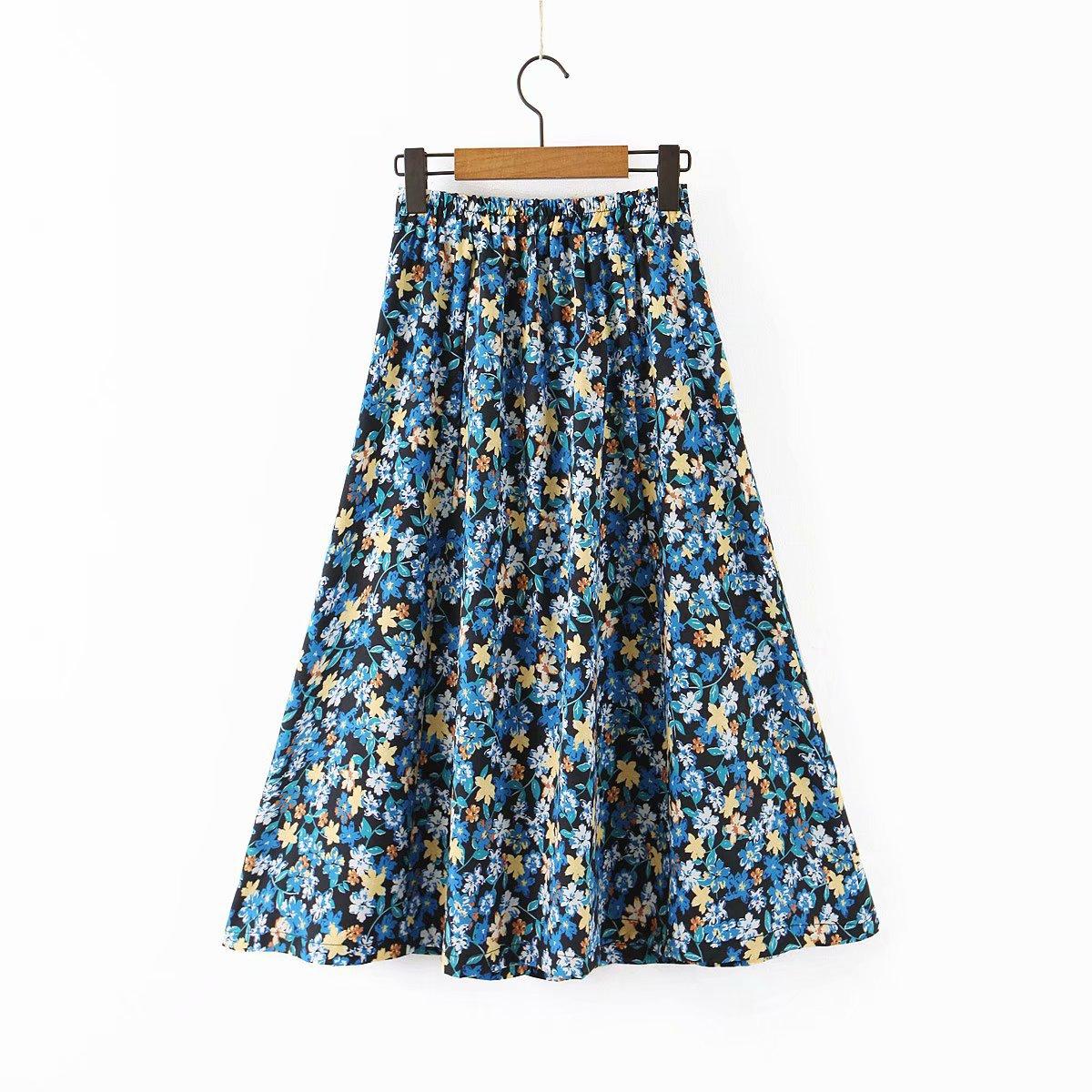 Las mujeres Retro Floral patrón Maxi elástico de la cintura falda de una línea botón decorado mujer Casual elegante faldas de media pierna