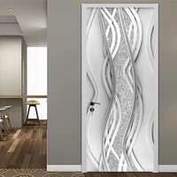 pvc door sticker modern 3d abstract fashion line silver pearl wallpaper living room art door poster self adhesive mural stickers