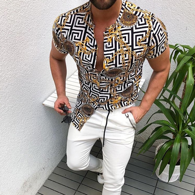 Summer Nation Style Man Shirt 2020 Mens Ethnic Printed Stand Collar Stripe Short Sleeve Loose Hawaiian Henley High quality Shirt