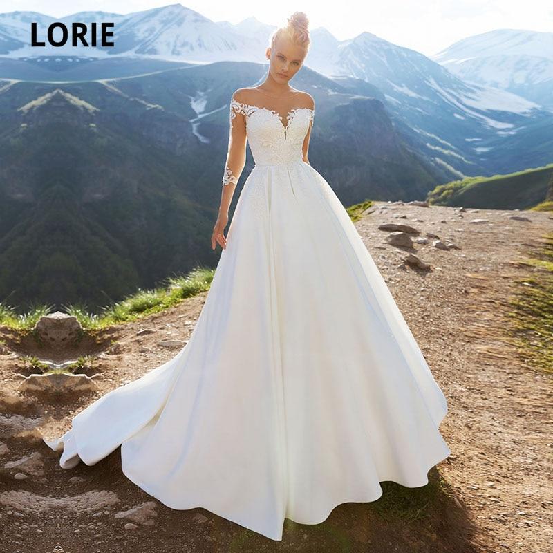 LORIE-vestidos de novia de manga larga con encaje, vestidos de novia de estilo Vintage, con apliques redondos, color blanco, para boda