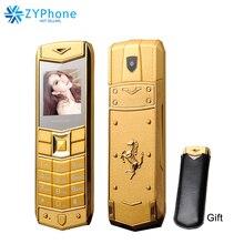 Russe arabe espagnol français Vibration luxe métal corps voiture Logo double Sim téléphone portable avec étui en cuir cadeau P234 mampa A8