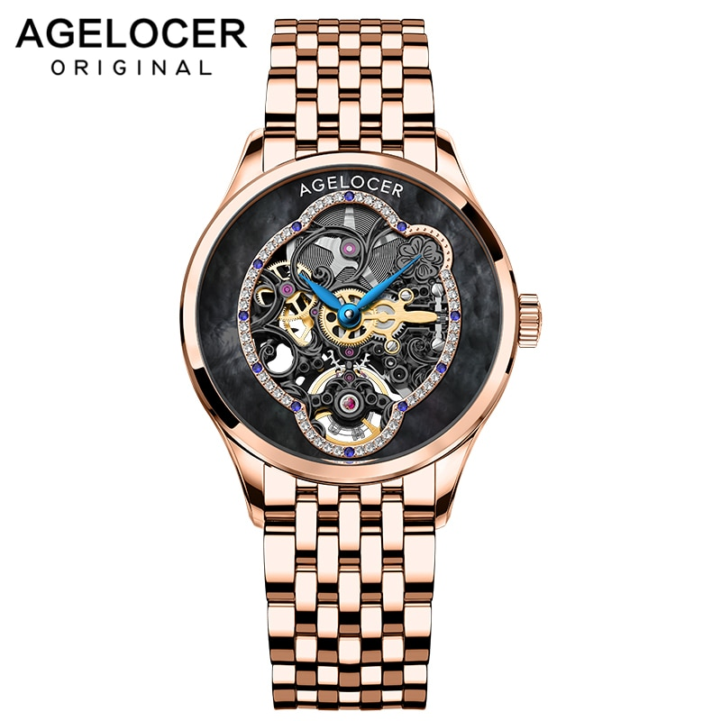 AGELOCER Luxury Women Wristwatch Automatic Mechanical Waterproof Watch Sapphire 316L Steel Rose Gold Watchstrap Lady Watches